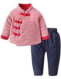Niña Chica Conjunto de 2 Piezas Manga Larga Acolchado Tops y Pantalones Ropa Infantil