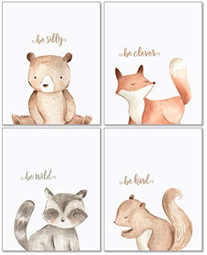 Confetti Fox Woodland Kinderzimmer-Wanddekoration, 8 x 10 cm, ungerahmt, 4 Stück - Waldkreaturen Junge Mädchen Aquarell Zitate Tier-Kunstwerke Poster - Bär Fuchs Waschbär Eichhörnchen - Fox-bild Baby