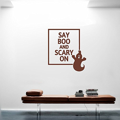 wandaufkleber 3d schlafzimmer 24X24 Say Boo And Scary On Ghost Cute Halloween Wall Decal Sticker Art Mural Home Decor Quote For Bedroom Living Room