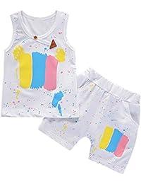Brightup Chico Niños Conjunto del verano imprimió Camiseta sin mangas + pantalones cortos ...