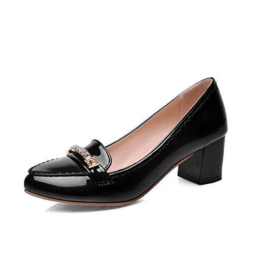 AllhqFashion Femme Tire à Talon Correct Verni Couleur Unie Chaussures Légeres Noir