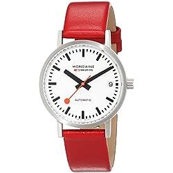 Mondaine SBB Classic Automatic Date 33mm A128.30008.16SBC Reloj de pulsera Automático Mujer correa de Cuero Rojo