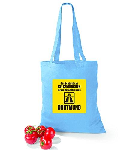 Artdiktat Baumwolltasche Das Schönste an Gelsenkirchen ist die Autobahn nach Dortmund cornflowerblue surfblue