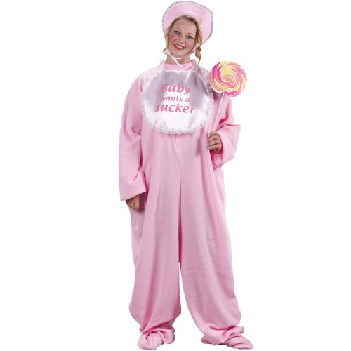 Adult Baby Jammies Plus Size Costume Pink Baby Jammies