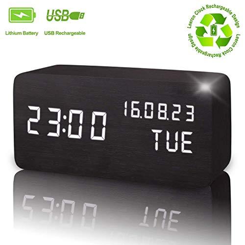Reloj despertador digital, de madera, LED, muestra la hora, la fecha, la semana y la temperatura, con forma de cubo, con control de sonido para niños, personas con sueño pesado, para el hogar, la oficina, la vida cotidiana, negro, Normal Type