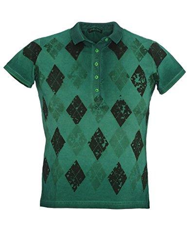 shockly Herren Poloshirt handbemalt aus Baumwoll-Piqué M-4X5409 Green