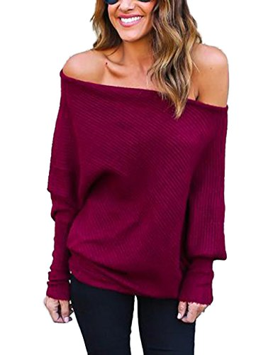 Damen Loose Fledermausärmel Sweatshirt Sexy Off Shoulder Pullover Casual Strick Oberteile Langarm T-Shirt Tops Frauen, Rotwein, XL -