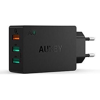 AUKEY Quick Charge 2.0 Caricabatteria da Viaggio, 3 porte USB Adattatore con Quick Charge 2.0 Supporta Samsung Galaxy, HTC Desire Eye, Google Nexus, LG ecc. (Nero)