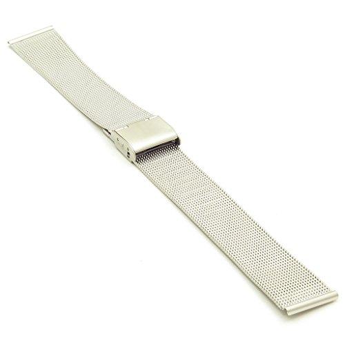 Strapsco Homme mince en maille en acier inoxydable poli Fermoir en métal Bracelet de montre bracelet Band Taille 18mm