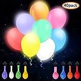 omitium LED Luftballons, 40 Stück Leuchtende Luftballons 8 Farben LED Ballons Einfach zu bedienen Bunt Ballons Festival Dekor Bunte Helium Luftballons für Hochzeit, Party, Geburtstag, Weihnachten