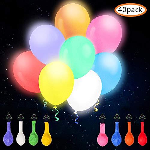 omitium LED Luftballons, 40 Stück Leuchtende Luftballons 8 Farben LED Ballons Einfach zu bedienen Bunt Ballons Festival Dekor Bunte Helium Luftballons für Hochzeit, Party, Geburtstag, ()