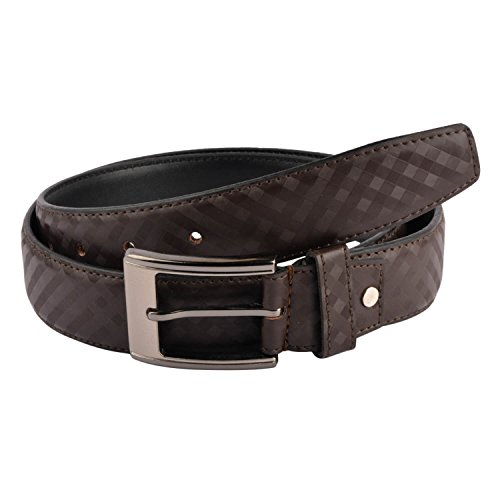 Snoby Brown Leatherette For Men Chess Partter Curved Edge Buckle Belt