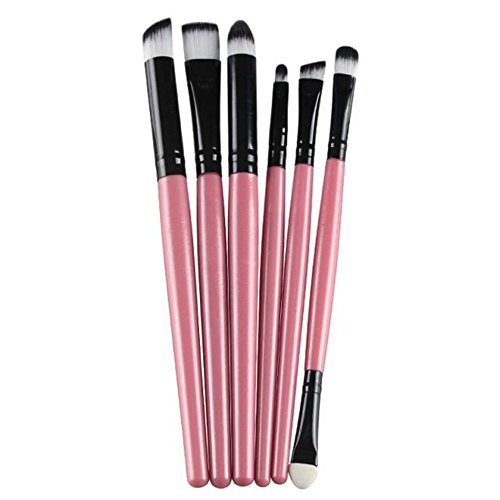 Fami 6 PCS Cosmetic Makeup Brosse à lèvres pinceau, pinceau à paupières,Rose