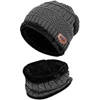 LQZ Soft Thicken Crochet Knitted Winter Warm Beanie Hat and Scarf Sets for Men Women (Deep Grey)