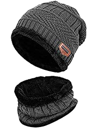 LQZ Soft Thicken Crochet Knitted Winter Warm Beanie Hat and Scarf Sets for  Men Women 754d7a9ad94c