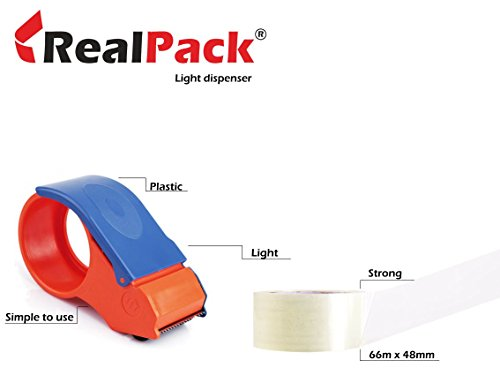 Realpack® 1 dispensador de cinta ligera + 2 rollos de cinta transparente – fácil de usar, dispensador de rollo de cinta de embalaje de plástico