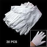 sourcingmap® Gants Antistatique Travail Rayure Electrique 20 Pièces Blanc