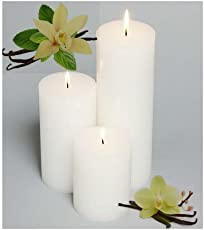 Gmall Vanilla Scented Pillar Paraffin Wax Candle (2x4xx6 Inches, White) - Set of 3