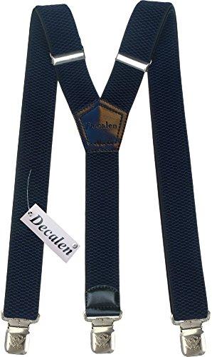 Hosenträger für Herren breit extra starken 4 cm mit 3er Clips Y-Form lange für Männer und Damen Hose (Marineblau)