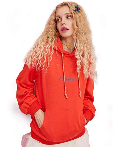 Elf sack ELFSACK Felpa da Donna a Maniche Lunghe, con Cappuccio, con Ricamo Vintage, Tinta Unita Orange XL