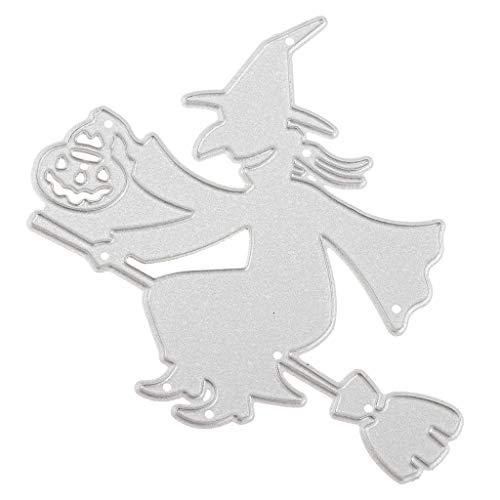 P Prettyia Halloween Hexe Stanzformen Scrapbooking Schablonen Prägepapier Cutting Dies, aus Metall