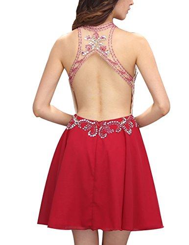 Dresstells Damen Kurz Chiffon Rückenfrei Cocktail-Kleider mit Perlstickerei Blau