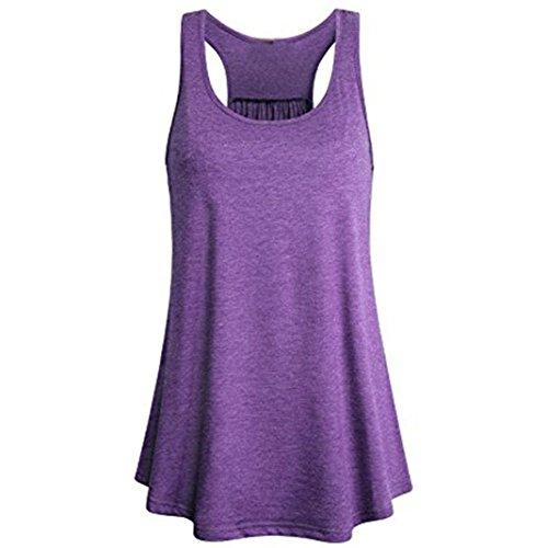 SOMESUN Damen Tank Top Basic Yoga Tops Damen Longshirt Jersey Unterhemd Long Top (XL, Violett)