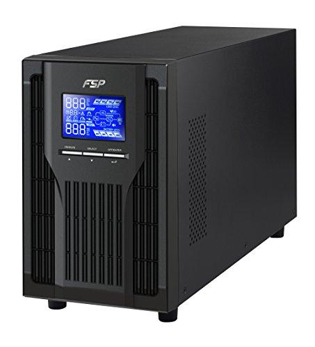 FSP PPF8001305 Fortron Champ Tower 1K, Echte Doppelwandler Online-USV, 1000 VA/900W, 200 bis 300VAC, mit USB, RS-232 und intelligenten Steckplatz für zusätzliche Schnittstellen Schwarz (2000-watt-ups)