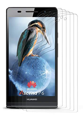 moex 5X Huawei P6 | Schutzfolie Klar Bildschirm Schutz [Crystal-Clear] Screen Protector Display Handy-Folie Dünn Bildschirmschutz-Folie für Huawei Ascend P6 Bildschirmfolie