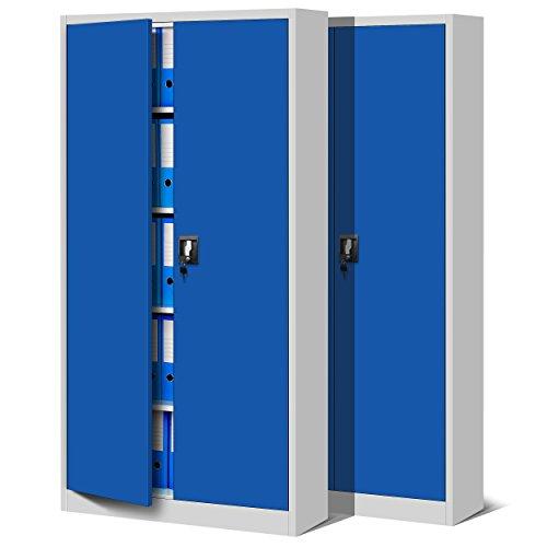 Jan Nowak by Domator24 2er Set Aktenschrank C001 Büroschrank Metallschrank Werkzeugschrank 4 Fachböden Stahlblech Flügeltüren Pulverbeschichtung 185 cm x 90 cm x 40 cm (grau/blau), Metall, -