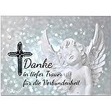 15 x Danksagung Trauerkarten (Engel mit Text) mit 15 Umschlägen im Set - Danke nach Trauer, Beerdigung, Sterbefall, Friedhof, Begräbnis