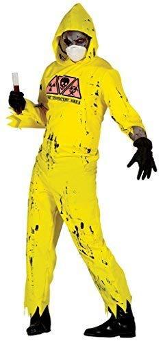 Fancy Me Herren Radioaktive Zombie Toxisch Hazard Infected Halloween Kostüm Kleid Outfit - Gelb, Medium