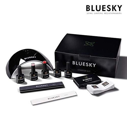 BLUESKY UV/Gel-Starter-Set mit LED-Lampe, Reinigungstücher, Feile und Puffer, Überlack, Unterlack und 3 Farben