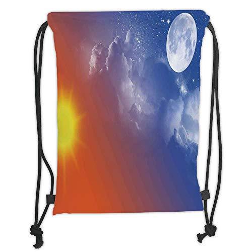 GONIESA Drawstring Sack Backpacks Bags,Apartment Decor,Full Moon Sun Clouds Cycle of The Galaxy Sacred Movement Macrocosm Print,Orange Blue Soft Satin,5 Liter Capacity,Adjustable String Closure