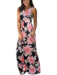 HOMEBABY® Floreale Abiti Lunghi Donna Eleganti Con Tasche- Estivi Vestiti  Casual Donna - Vintage eb2eda4d391