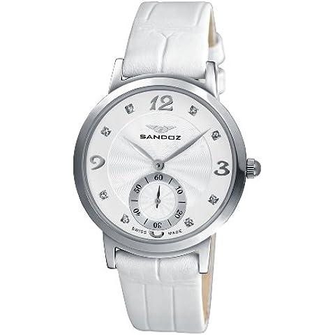 Sandoz 72564-00 - Reloj de mujer de cuarzo, correa de acero inoxidable color blanco