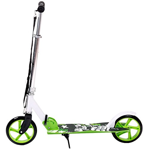 FunTomia Kick Scooter Roller Cityroller/klappbar (Grün/Weiß Totenkopf)