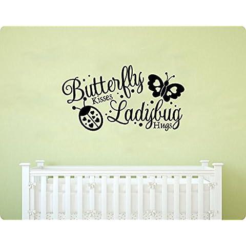 Butterfly Kisses Coccinella Hugs–saying Cuori Love bambini ragazza parete in vinile Arte Murale Home Decor Quote