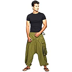 Pantalón Harem o Harén Algodón pantalones Bombacho Aladin para todo el el año, a la playa, Danza, Yoga, Deporte, Fitness Shanti es perfect Color verde, Tamaño S/M