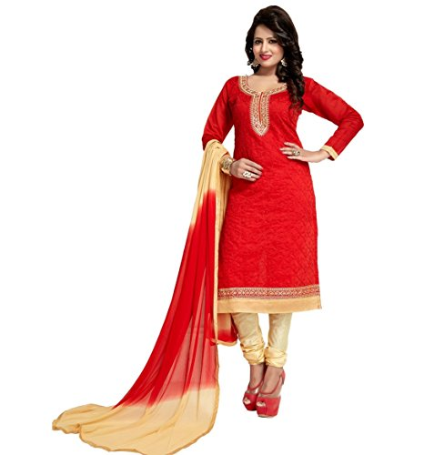 Dress (Fashion Forever Women\'s New Look Summer special Red Chanderi Partywear, Casual, Dailywear Churidar Embroidered Trending Unstitched Dress Material For Women 2017)