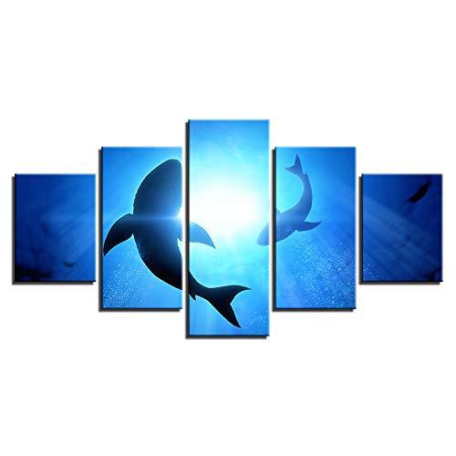 dsfytrew Kein Rahmen Leinwandbilder Home Decoration Hd Prints Bilder 5 Stücke Abstrakte Blue Ocean Shark Seascape Poster Wohnzimmer Wandkunst