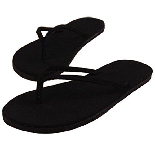 Tongs, GreatestPAK Femme été tongs chaussures sandales pantoufle intérieure et extérieure (37 EU, café) Noir