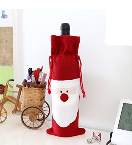 Santa Claus Christmas Red Wine Bottle Cover Bags Set of 4 by Blues Outfit