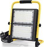 100W LED Strahler - LED Baustrahler tragbar 10000 Lumen IP65 Wasserdicht Fluter mit 5M Netzkabel, 6000K Tageslichtweiß Werkstattlampe Strahler