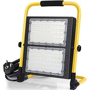 100W Foco LED Proyector,10000Lumens, IP65, Proyector LED giratorio con soporte, Cable de 5 m, Camping, Trabajo nocturno, Jardín, Exterior [Clase de eficiencia energética A]