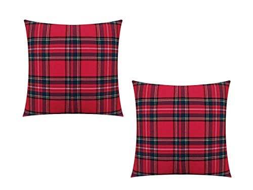 GIACALLON - Confezione da 2 Federe Cuscini Divano Tartan in Cotone 40x40 cm - Fatte a Mano - Copricuscini scozzesi misure personalizzabili (50x50-30x50)