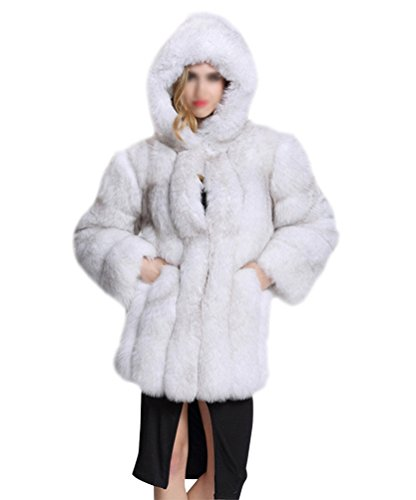 Donna cappotto con cappuccio falso pelliccia sintetica maniche lunghe cappotto parka giubbotti giacca invernali bianco s
