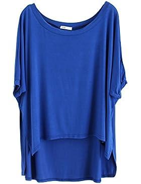 Blusa Suelto Ocasional Camisetas Con Mangas Yoga Camiseta T-Shirt Mujeres Zafiro XL