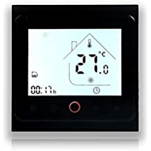 BECA 002 Serie 3 / 16A Pantalla táctil LCD Agua/Calefacción eléctrica/Caldera Termostato de control de programación inteligente con conexión WIFI (Calefacción eléctrica, Negro completo)