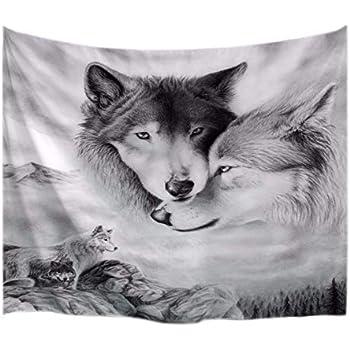 0c4383e3b95 A.Monamour Image Noir Et Blanc Couples De Loup Amoureux des Animaux Tissu À  Thème